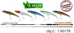 Akcia-Prívlačový prút 2,70m/40g+ZDARMA 5ks woblerov