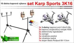 Akcia-kaprový set 3K16-2x prút 3diel/3,6m/3lb+výbava