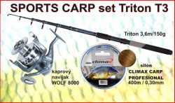SPORTS CARP set TELESKOP 3,6m/150g + navijak + silon