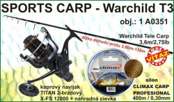 SPORTS CARP set TELESKOP 3,6m/2,75 + baitrunner + silon