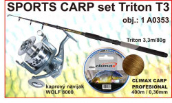 SPORTS CARP set TELESKOP 3,3m/80g + navijak + silon