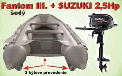 Nafukovací 3 kýlový čln šedý a akcia motor SUZUKI 2,5Hp