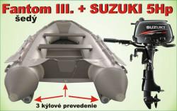 Nafukovací 3 kýlový čln šedý a akcia motor SUZUKI 5Hp