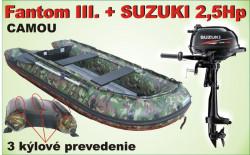 Nafukovací 3 kýl čln CAMOU a akcia motor SUZUKI 2,5Hp