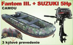 Nafukovací 3 kýlový čln CAMOU a akcia motor SUZUKI 5Hp
