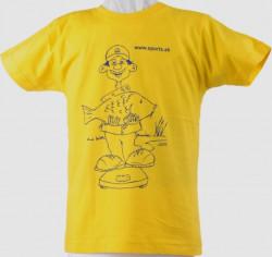 Tričko detské - Rybár váži kapra, f. žlté