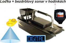 Zavážacia loďka + farebný bezdrôtový sonar v hodinkách