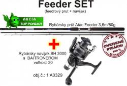Feeder prút 3,6m/80g + feeder baitrunerový navijak