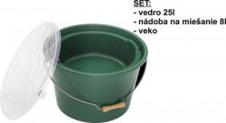 Vedro, miska, poklop - Set na krmivo 25L