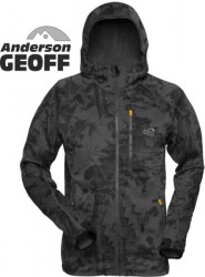 Fleece bunda Hoody 3 Geoff Anderson leaf – čierna