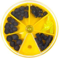 Rybárske stopery gumené v krabičke - mix veľkostí
