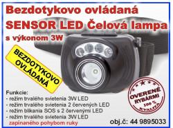 Zebco lampa čelová 3W bezdotykovo ovládaná