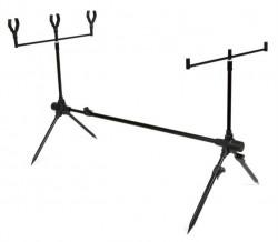 Kompaktný skladací stojan na tri rybárske prúty