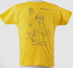 Tričko detské - Rybár s voblerom, f. žlté